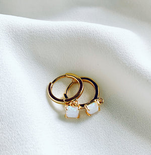 Tiny Opal Huggie Hoop Earrings Gold Filled
