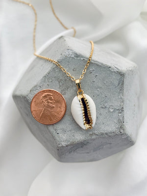 Genuine White Cowrie Shell Pendant Necklace - Gold Dipped