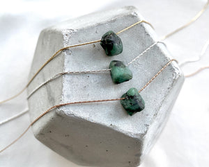 Raw Emerald Floating Pendant Necklace - May Birthstone