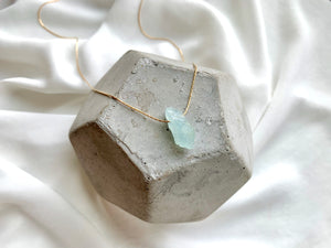 Raw Aquamarine March Birthstone Necklace