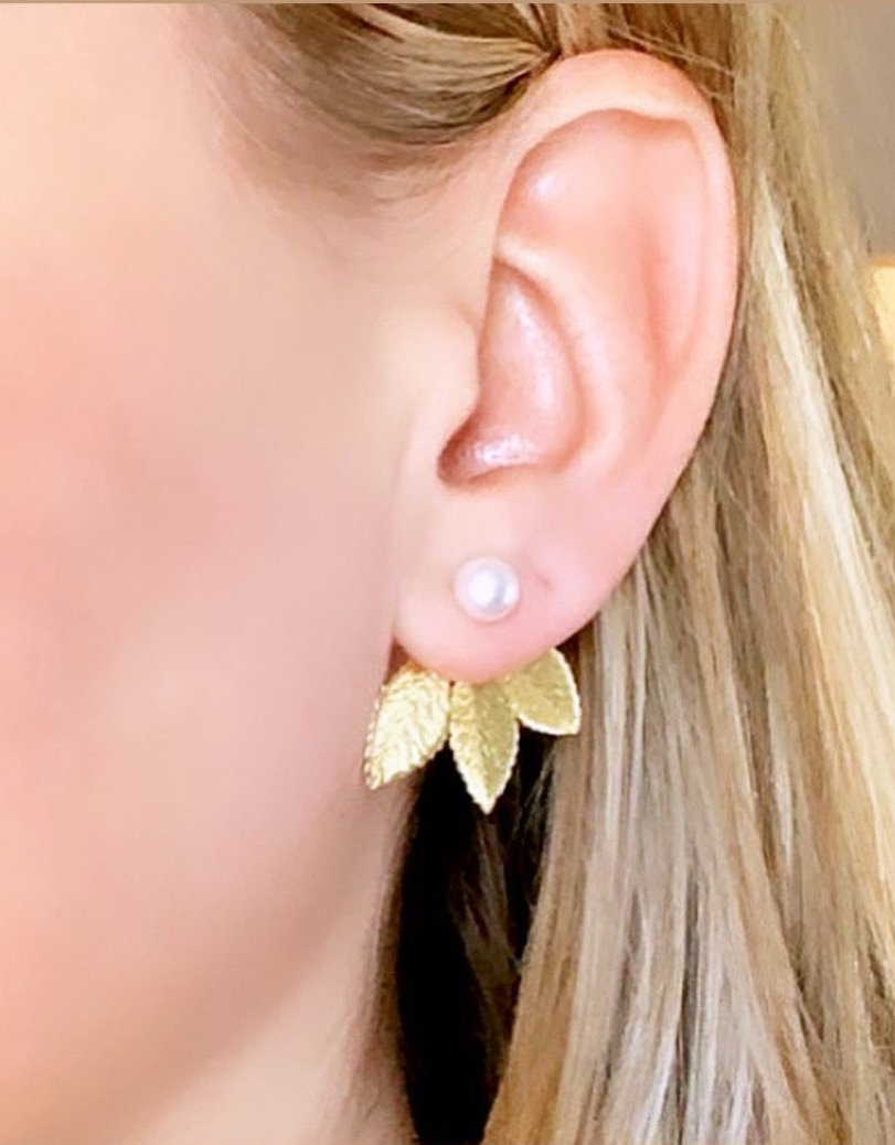 Leaves Earring Jackets with Pearl Studs