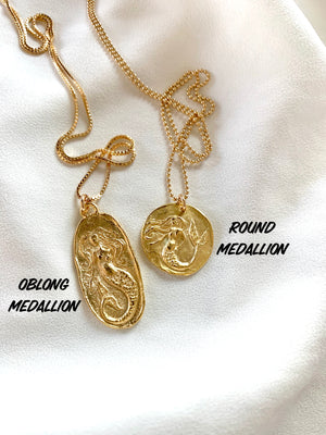 Gold Mermaid Medallion Necklace