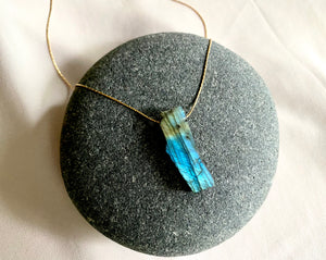 Raw Flashy Labradorite Pendant Necklace