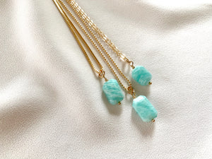 Dainty Amazonite Gemstone Pendant Necklace