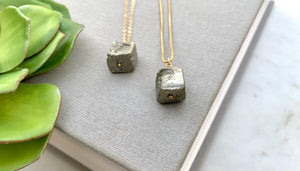 Raw Pyrite Cube Pendant Necklace - Gold