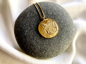 Large Gold Mermaid Medallion Necklace