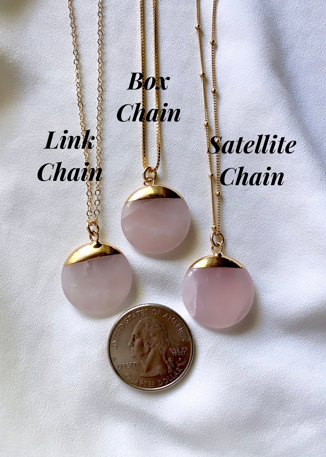Rose Quartz Coin Medallion Necklace