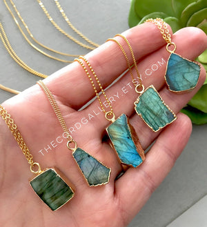 Genuine Labradorite Pendant Necklace - Gold