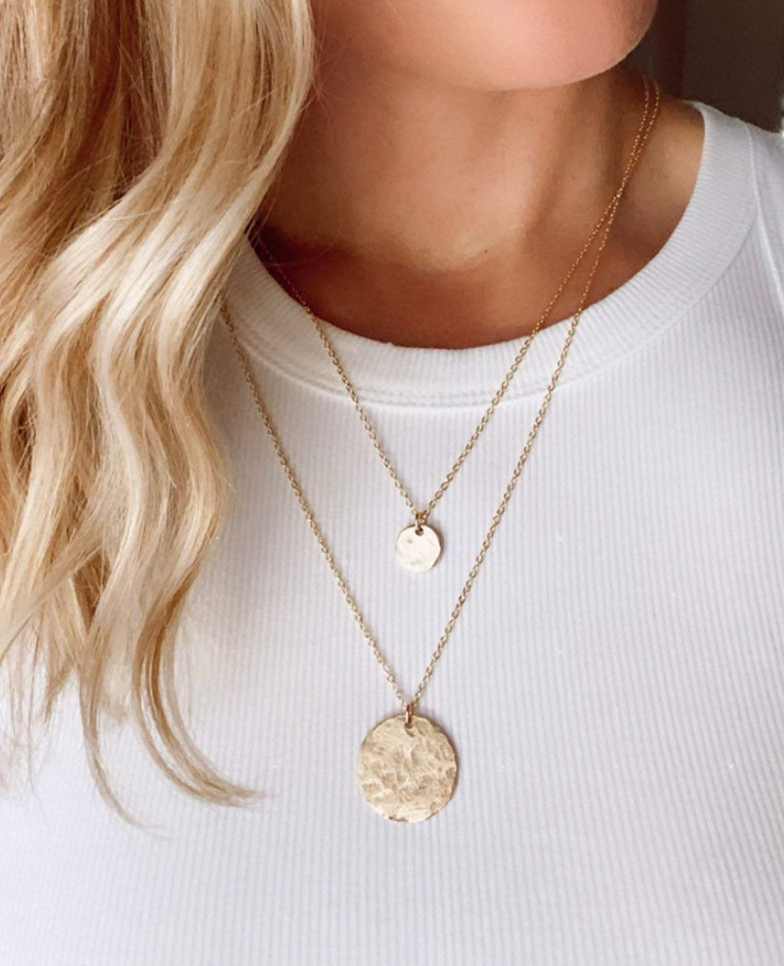 Gold Hammered Coin Medallion Necklace