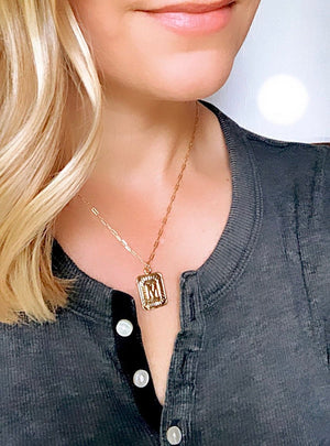 Vintage Style Initial Medallion Necklace - Personalized Jewelry {16 to 18 inches}