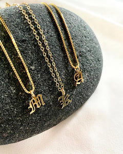 Mini Gold Filled Old English Upper Case Letter Necklace {20 and 22 inches}