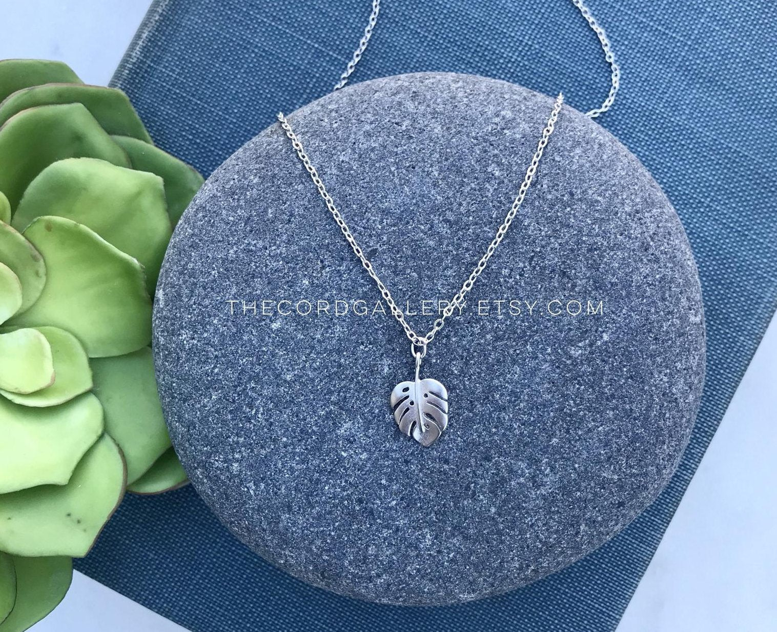 Dainty Silver Monstera Leaf Necklace