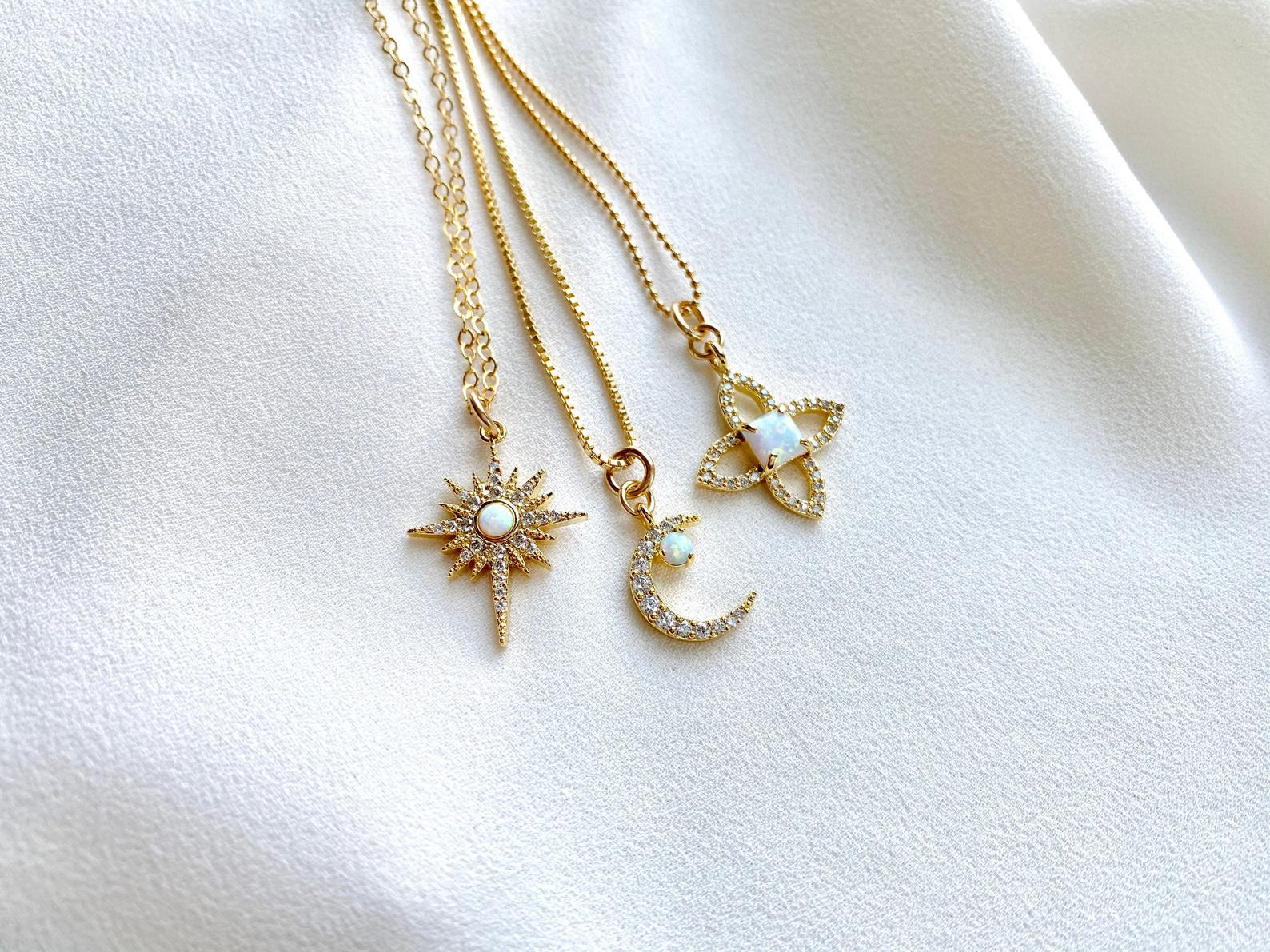Dainty Opal Charm Necklaces - Crescent Moon - North Star - Flower