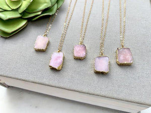 Genuine Pink Opal Pendant Necklace - Gold