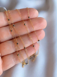 Dainty Gold Filled Pyrite Beaded Chain Necklace