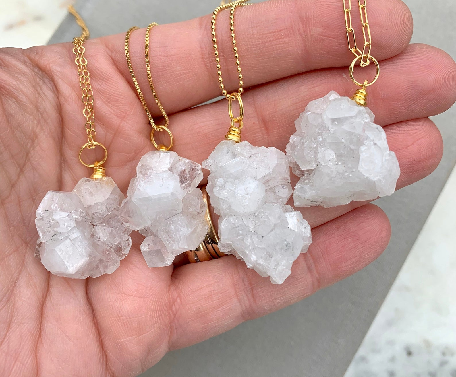 Raw Crystal Cluster Pendant Necklace - Gold