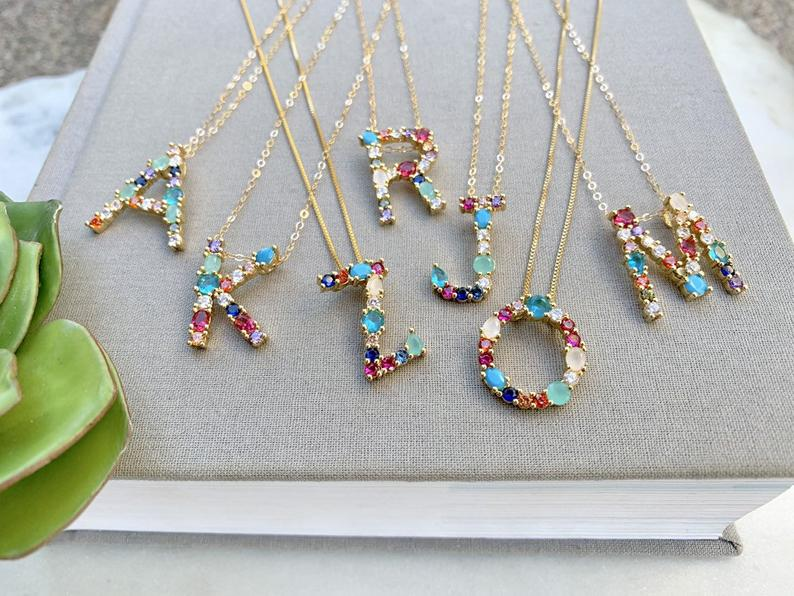 Rhinestone Letter Pendant Necklace {16 and 18 inch Lengths}
