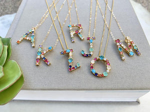 Rhinestone Letter Pendant Necklace {20 and 22 inch Lengths}