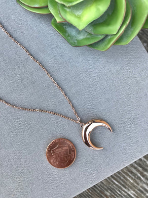 Rose Gold Crescent Pendant Necklace