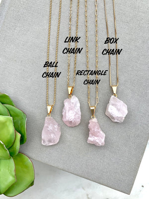 Raw Rose Quartz Pendant Necklace - Gold