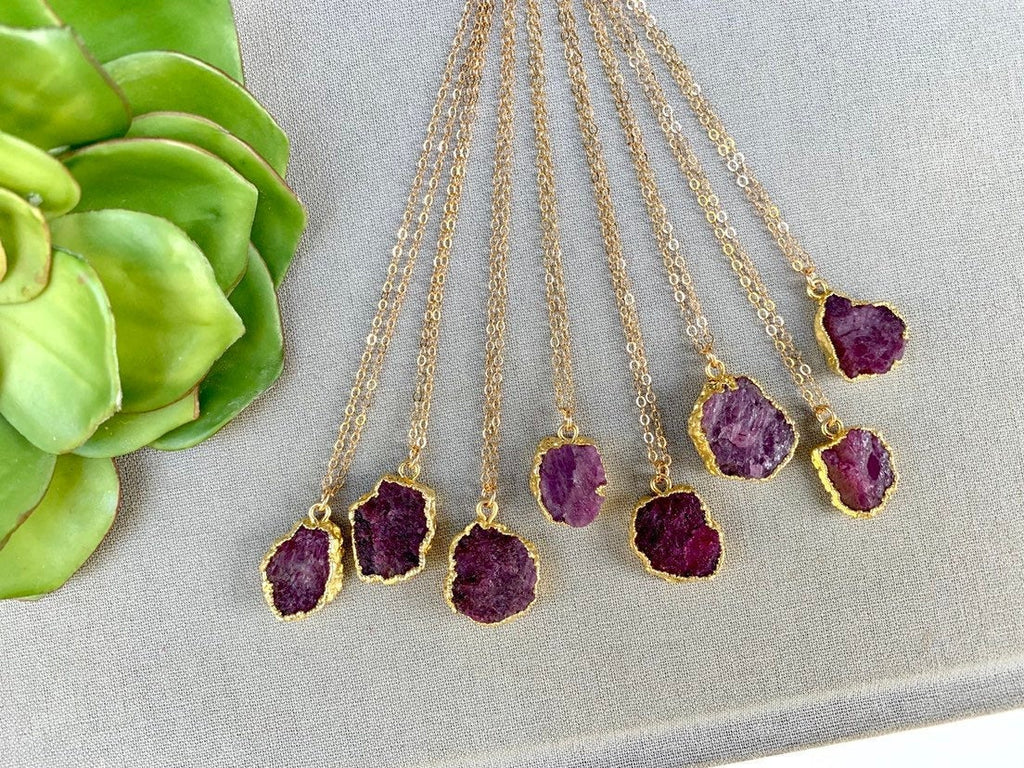 Genuine Raw Ruby Necklace - Gold - July Birthstone