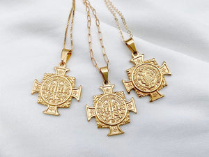 Gold Filled Cross Medallion Saint Necklace
