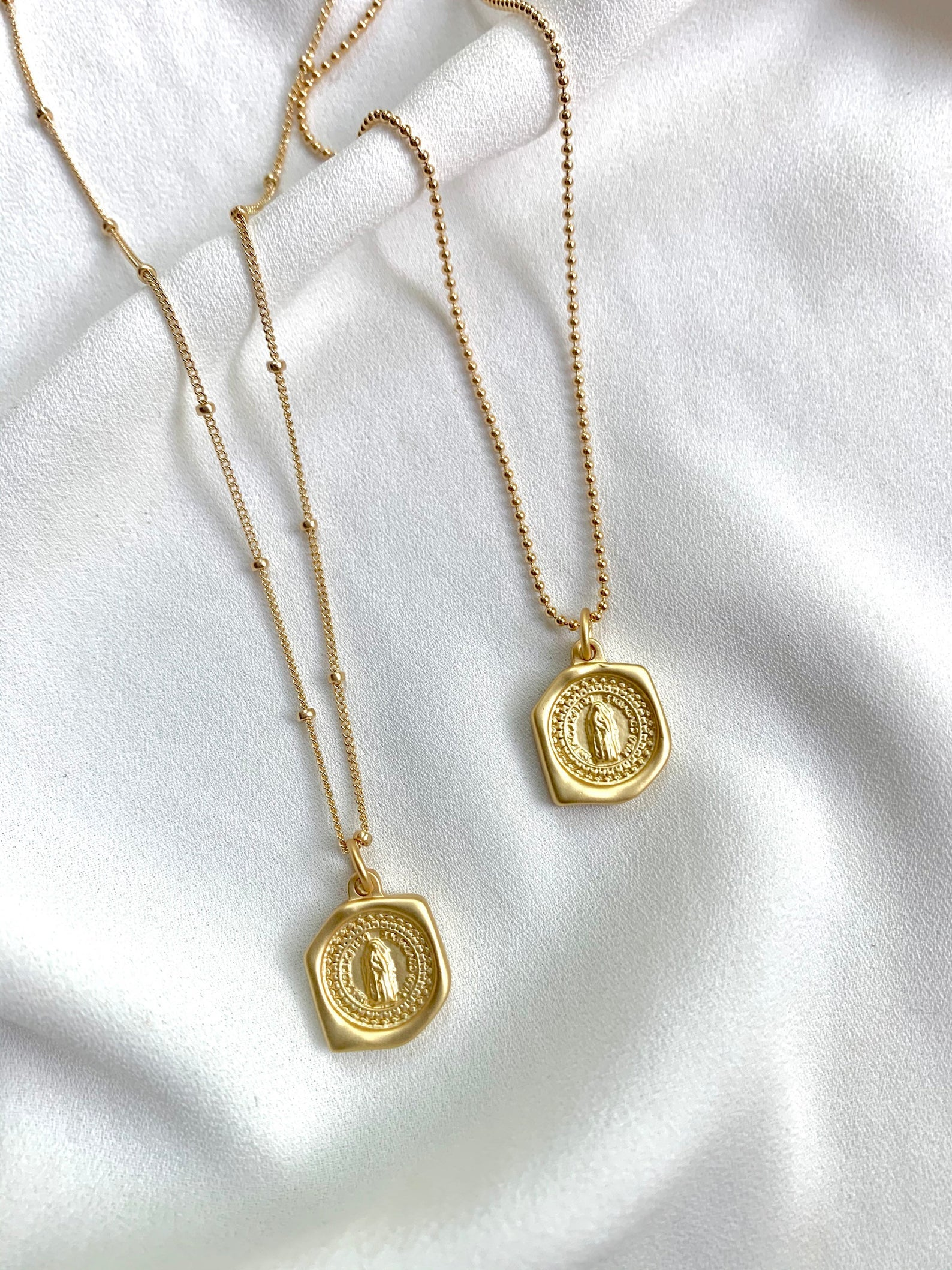 Gold Saint Asymmetrical Medallion Necklace