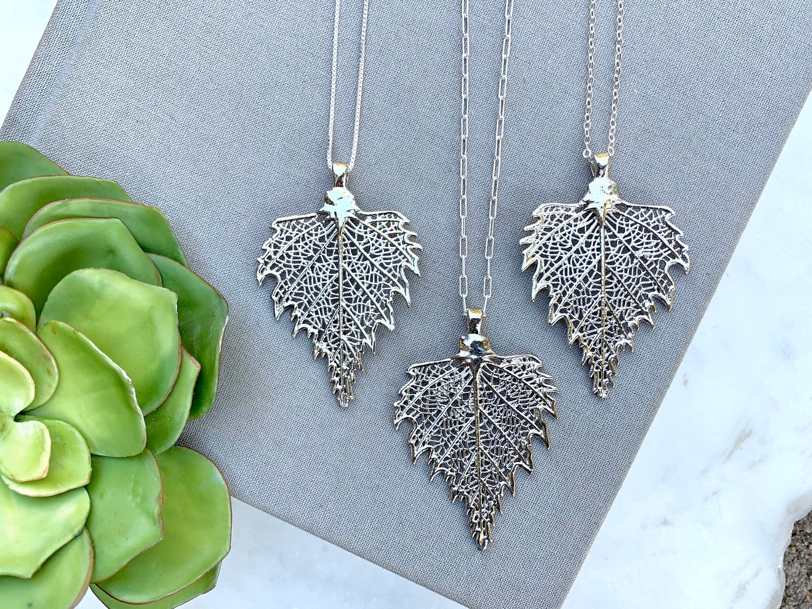 Silver Leaf Pendant Necklace