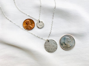 Hammered Sterling Silver Coin Pendant Necklace