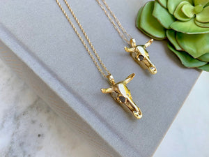 Gold Bohemian Style Skull Pendant Necklace