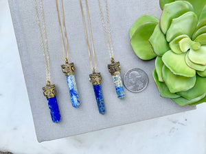 Sodalite Crystal Point Pendant Necklace - Gold Filled Chain