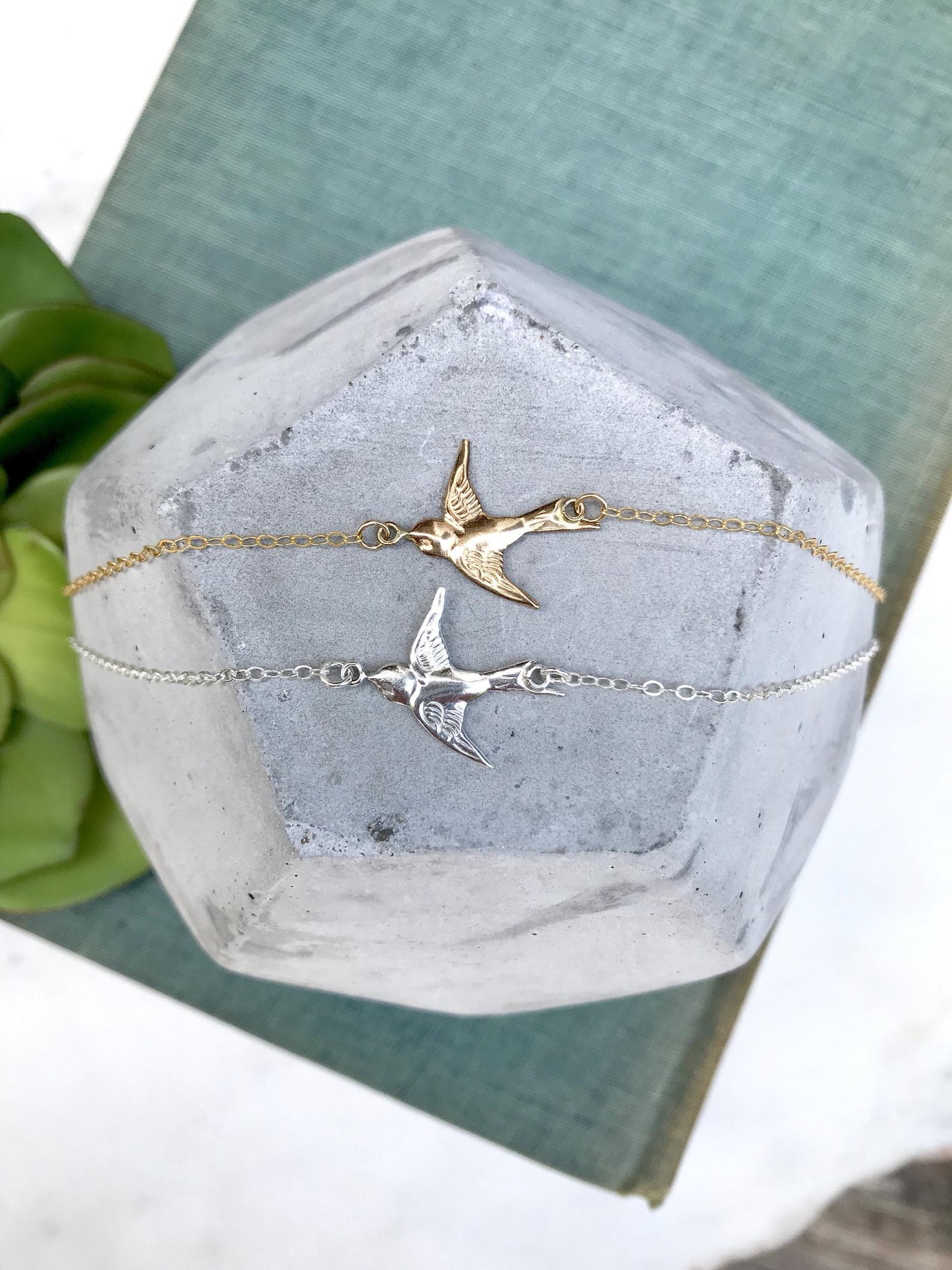 Dainty Flying Dove Necklace -Gold or Silver