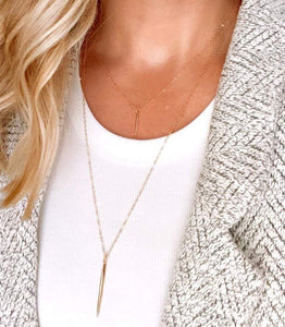 Dainty Gold Filled Spike Charm Necklace