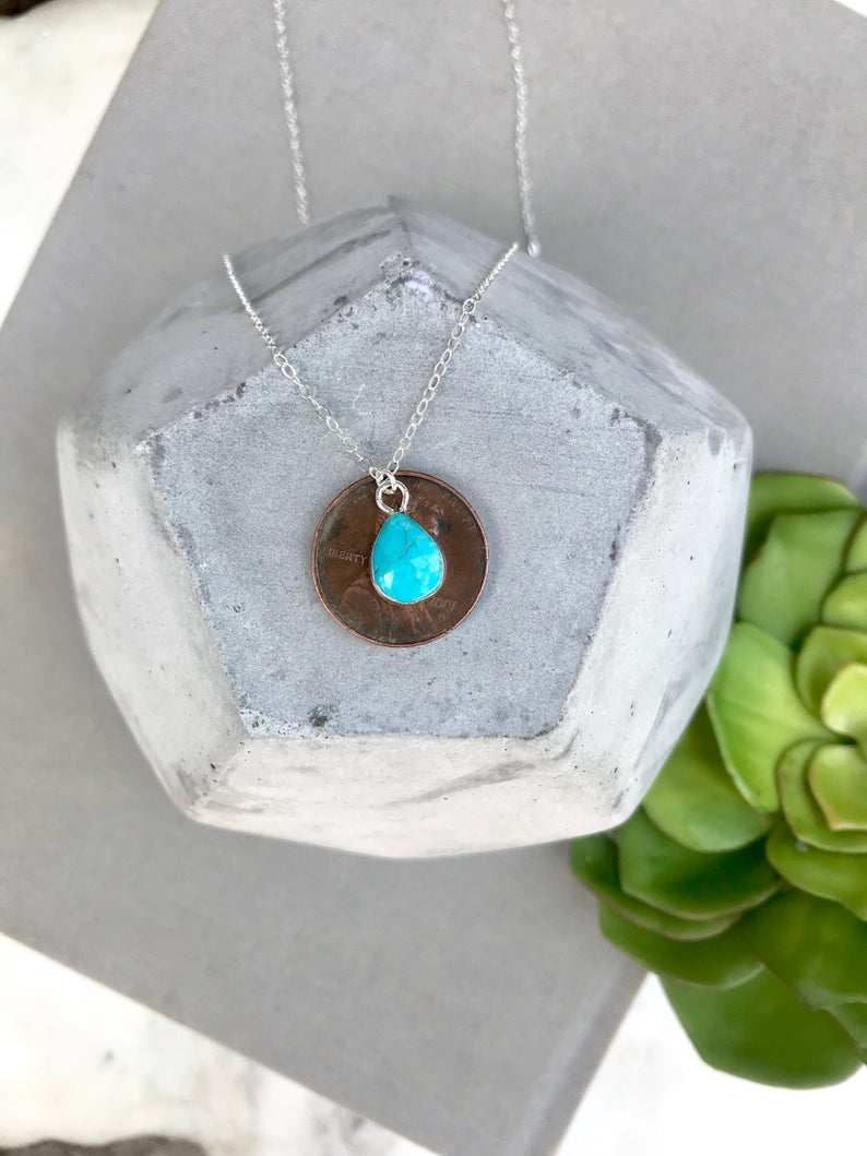 Raw Turquoise Teardrop Pendant Necklace - Silver