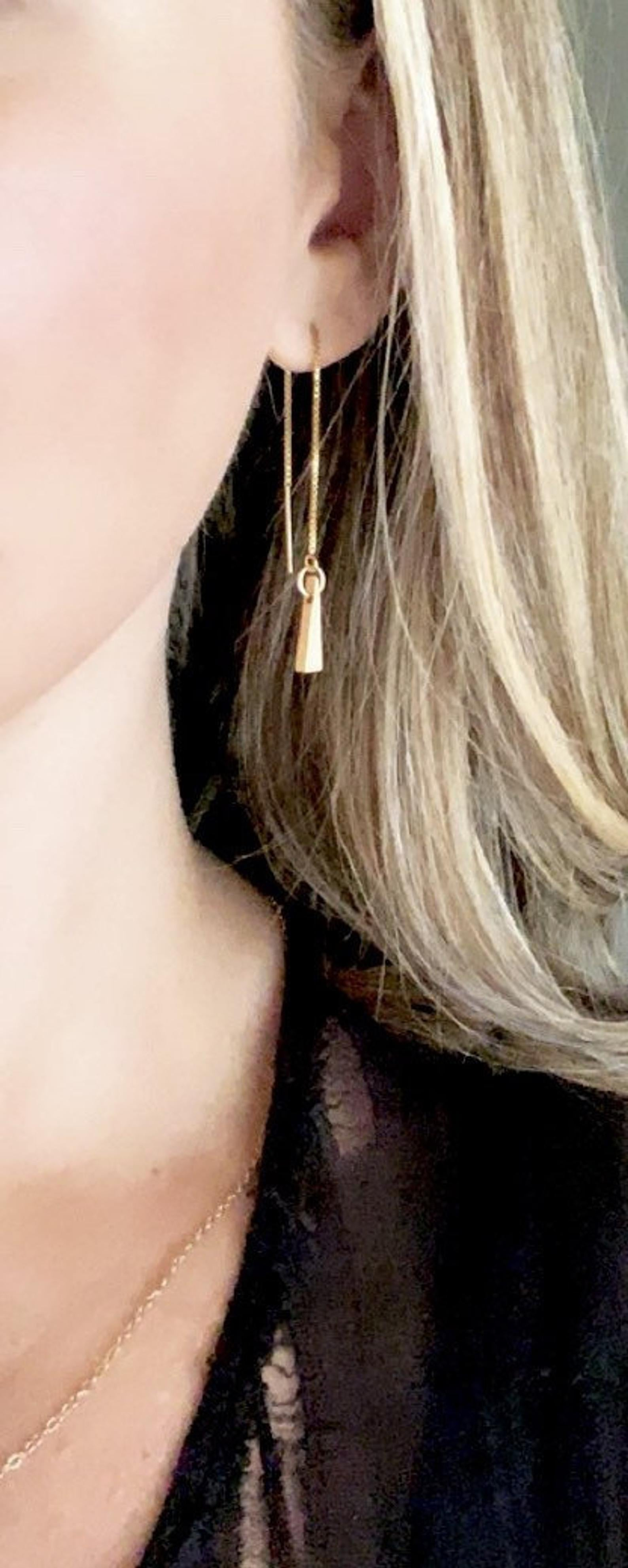Gold Triangle Drop Threader Earrings
