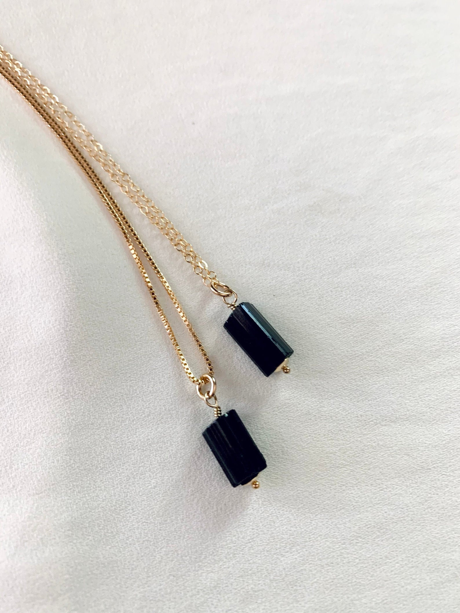 Genuine Raw Black Tourmaline Pendant Necklace - Gold