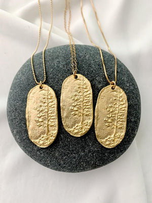 Matte Gold Sequoia Tree Medallion Necklace