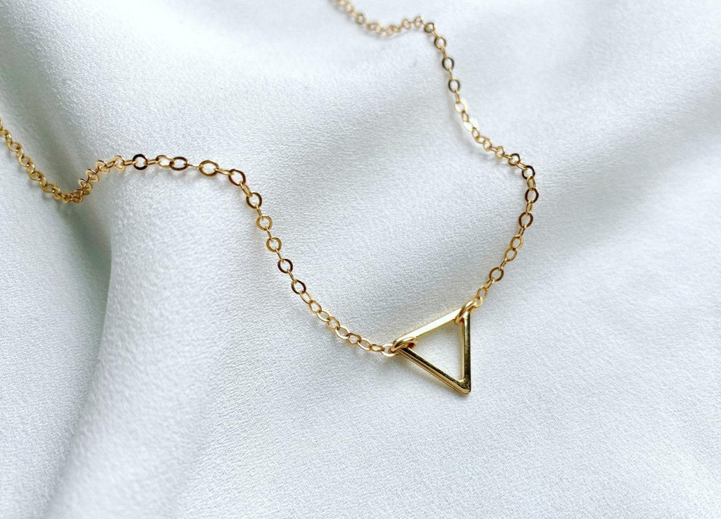 Gold Filled Dainty Triangle Necklace