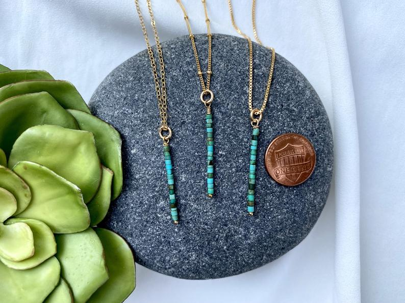 Dainty Turquoise Heishi Beaded Bar Necklace
