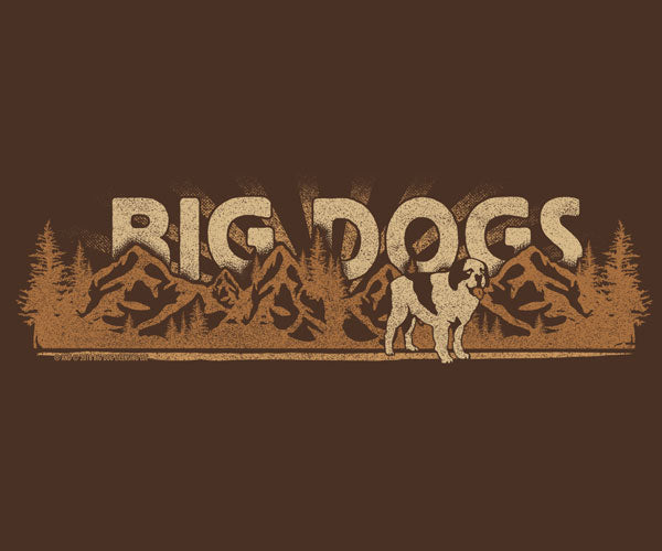 Big Dog and Mountains Chest Stripe T-Shirt