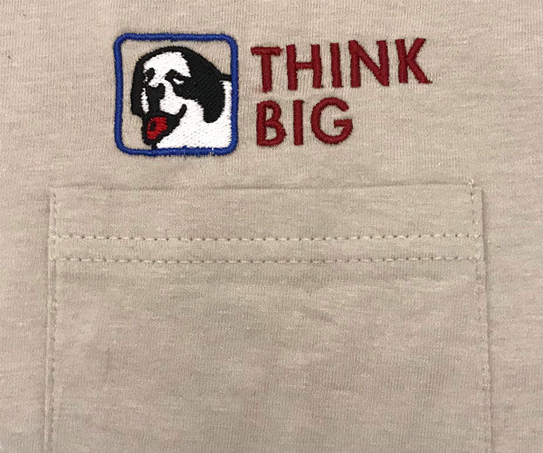 Think Big Embroidered Pocket Tees