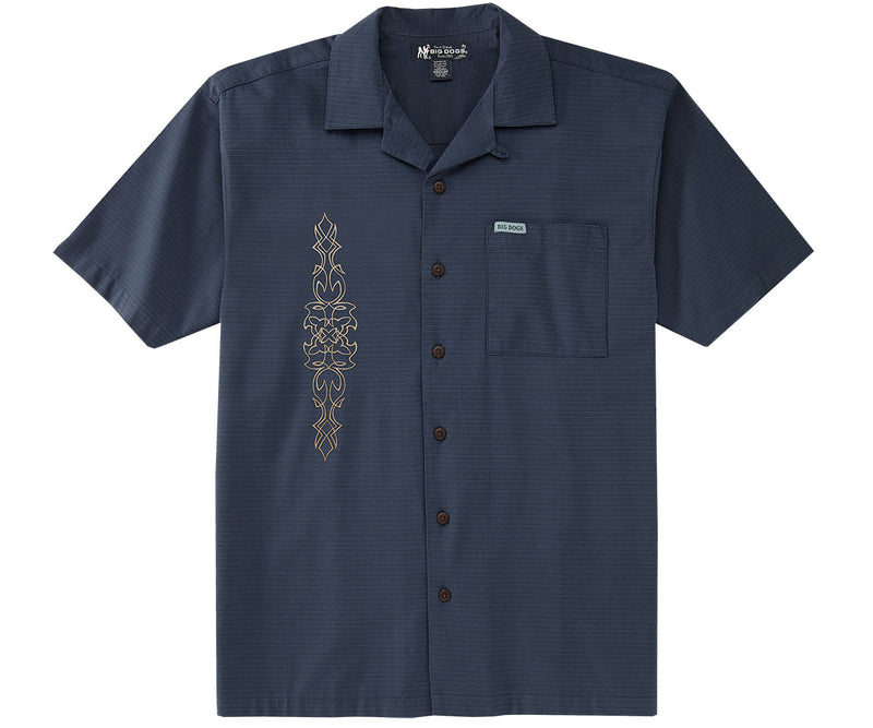 Embroidered Kakau Textured Rayon Shirt