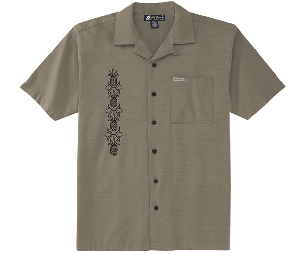 Embroidered Pineapple Textured Rayon Shirt