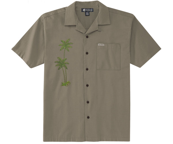 Embroidered Palms Textured Rayon Shirt