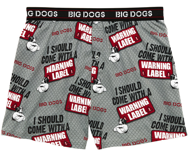 Warning Label Printed Knit Boxers