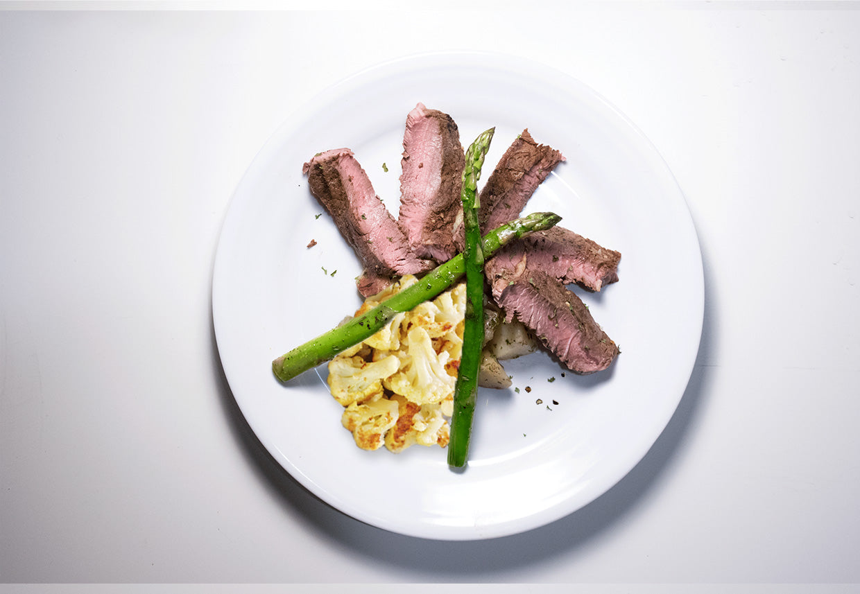 Grilled Steak & Asparagus Halves - Burn