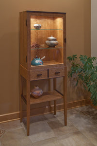 Tall Cherry Display Cabinet