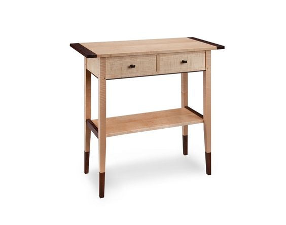 Tiger Maple Two Drawer Hall Table