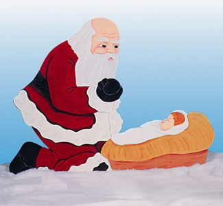 Santa and Baby Jesus Wood Pattern