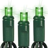 5MM GREEN LED LIGHTS, 100 bulbs, 33.7ft (Commercial Grade)